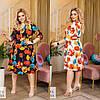 Р 48-62 Платье на запах в цветочный принт средней длины Батал 23768