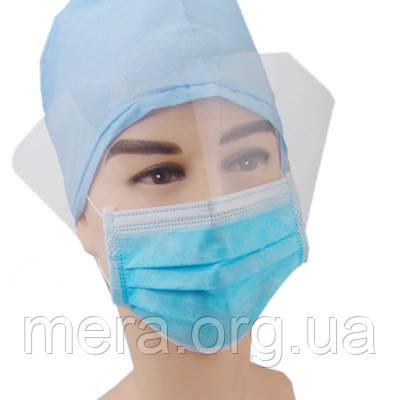 Маска медицинская стерильная на резинках с защитным экраном, фото 2
