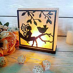 Соляная лампа Фея с птичкой 3-4 кг (16*16*25 см)