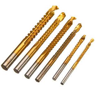 Набор из 6 фрезерных сверл 3-8мм HSS для рассверливания бокового пропила
