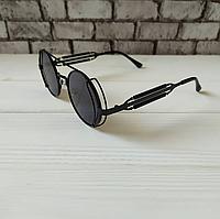 Модные черные мужские солнцезащитные очки круглые качественные металлическая оправа