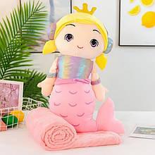 Плед - м'яка іграшка 3 в 1 (Русалка рожева)