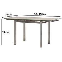 Прямоугольный раскладной серый обеденный стол Vetro Mebel T-231-8 стеклянный 90-150x70см для кухни