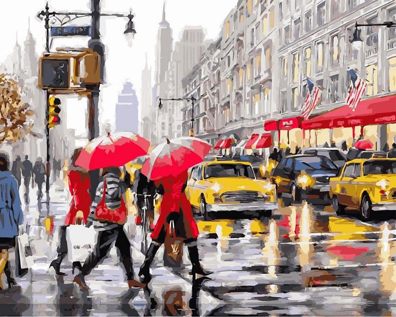 Раскраски по номерам 40×50 см. Осень в Нью-Йорке Художник Ричард Макнейл