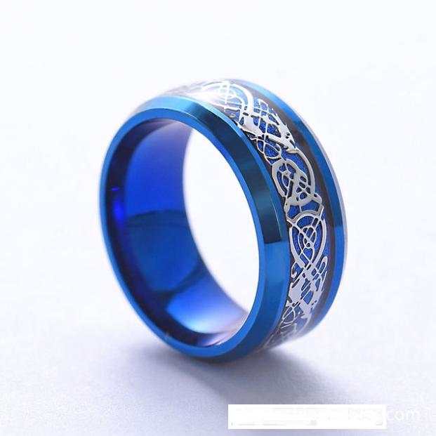 Женское кольцо синее с рисунком Дракона 8 мм. Размеры: 20-23. Кольца женские на большой палец
