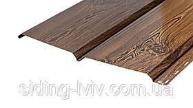 Металевий Сайдинг під дошку фальш брус Темне дерево 0,35 см