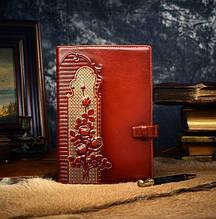 """Ежедневник женский А5 формата в кожаной обложке """"Розы"""""""