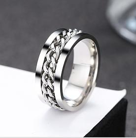 Женское кольцо с цепью 8 мм. Размеры: 18-23. Кольца женские из медицинской стали на большой палец