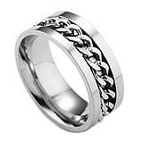 Женское кольцо с цепью 8 мм. Размеры: 18-23. Кольца женские из медицинской стали на большой палец, фото 2