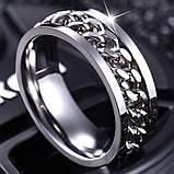 Женское кольцо с цепью 8 мм. Размеры: 18-23. Кольца женские из медицинской стали на большой палец, фото 4