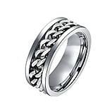 Женское кольцо с цепью 8 мм. Размеры: 18-23. Кольца женские из медицинской стали на большой палец, фото 5