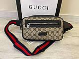 Поясна сумка бананка Gucci 21935 бежева, фото 2