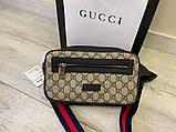 Поясна сумка бананка Gucci 21935 бежева, фото 3