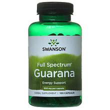 Растительный экстракт Свансон Гуарана США Swanson Guarana USA 500мг 100 капсул