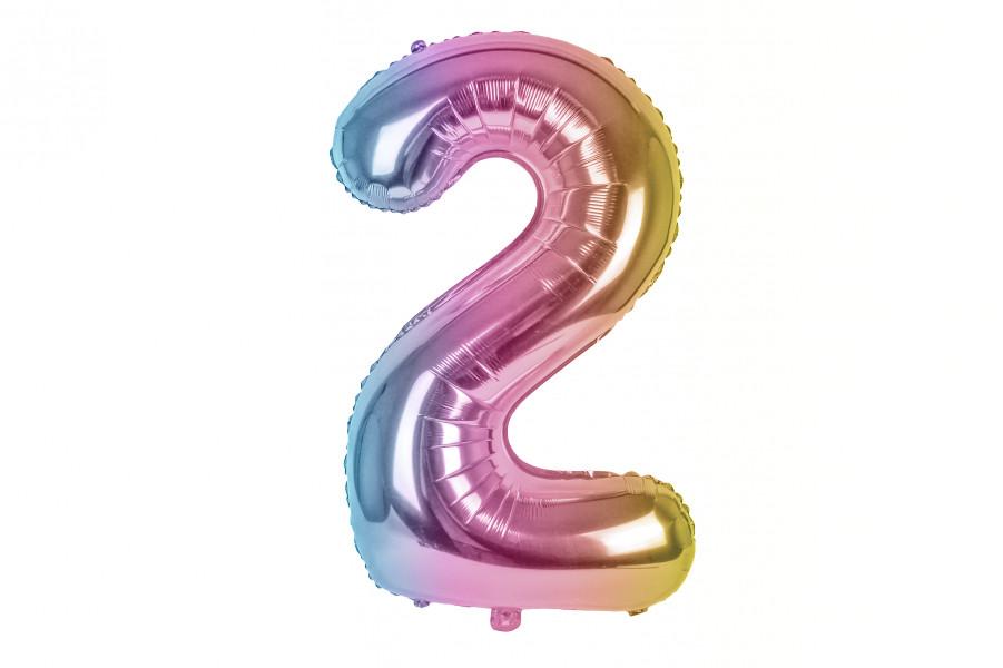 """Повітряна куля цифра """"2"""" multicolor (1м)"""