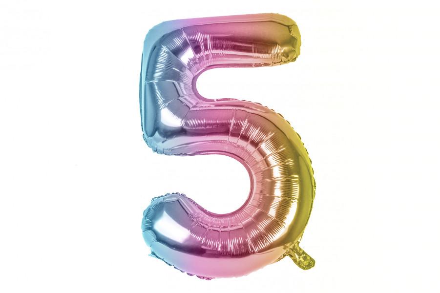 """Повітряна куля цифра """"5"""" multicolor (1м)"""