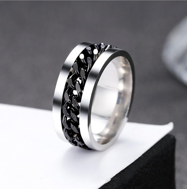 Женское кольцо с цепью 8 мм. Размеры: 19-22. Кольца женские из медицинской стали на большой палец