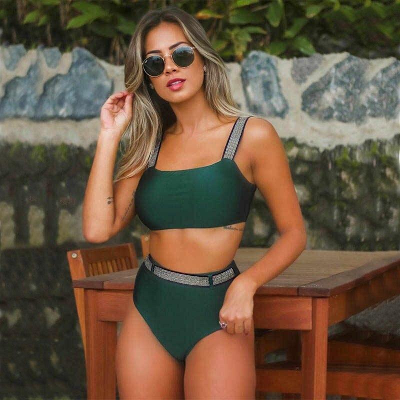 Женский зеленый купальник, раздельный купальник тренд 2021 CC-9319-40