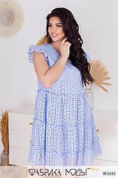 Летнее платье из прошвы в батальных размерах без рукавов свободного фасона (р. 50-56) 11529