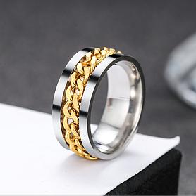 Женское кольцо с цепью 8 мм. Размеры: 18-21. Кольца женские из медицинской стали на большой палец