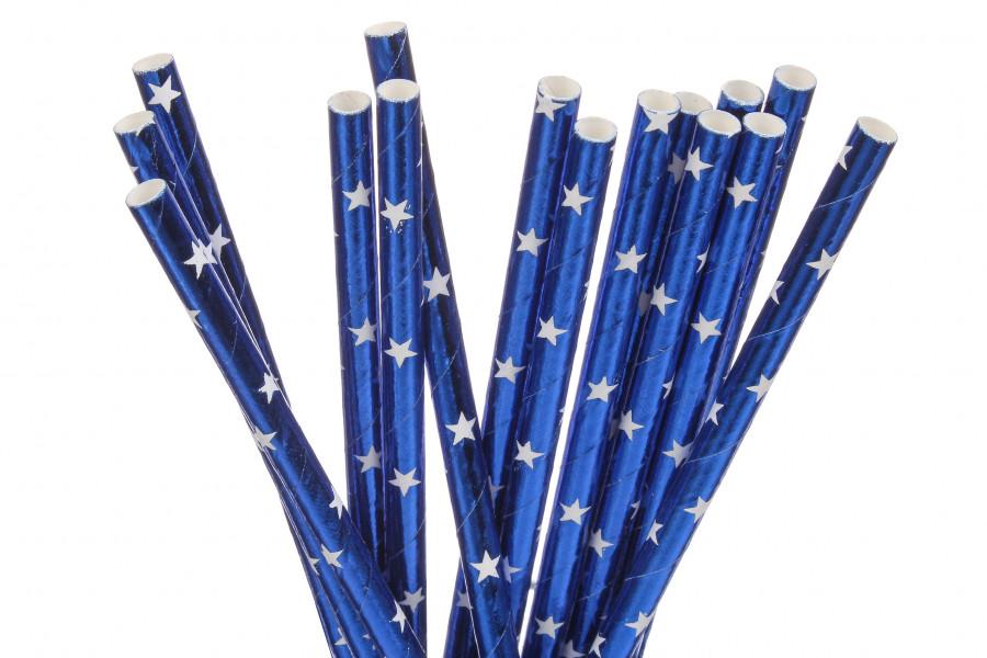 """Бумажные трубочки """"Blue white stars"""" (10 шт.)"""