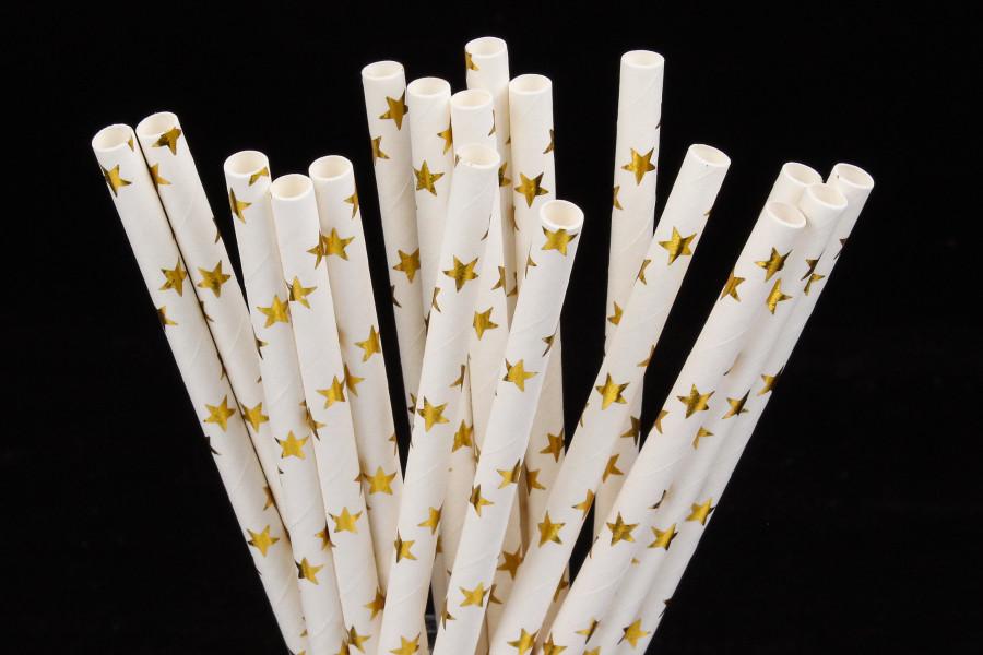 """Бумажные трубочки """" Gold stars"""" (10 шт.)"""