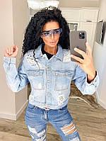 Жіноча коротка джинсова куртка з потертостями, фото 1