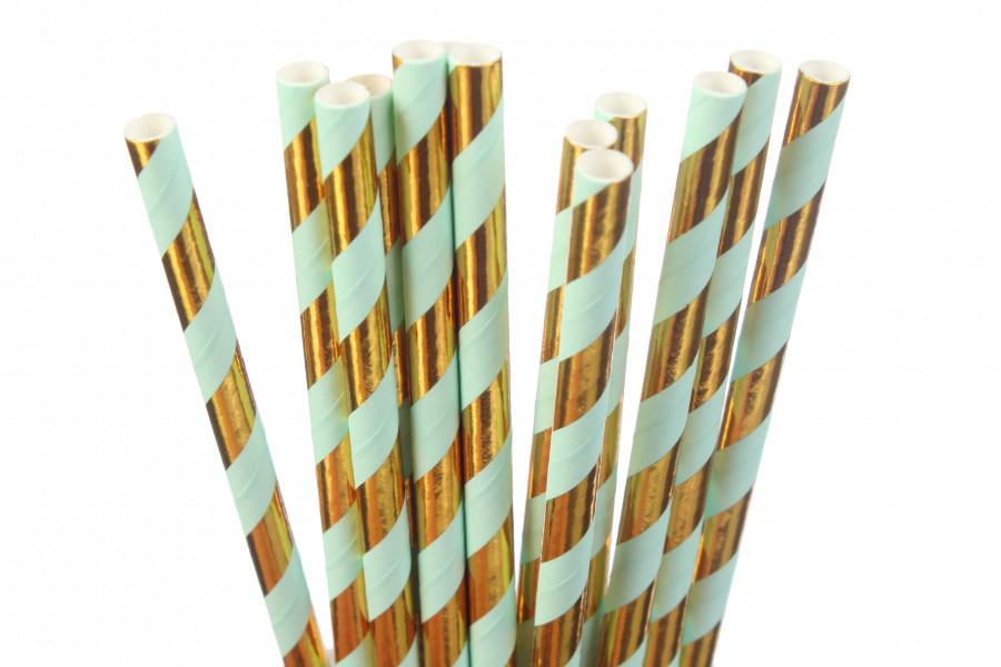 """Паперові трубочки """"Mint&Gold"""" (10 шт.)"""