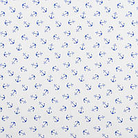 Бавовняна тканина Якорі дрібні сині