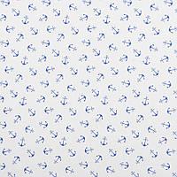 Хлопковая ткань Якоря мелкие синие