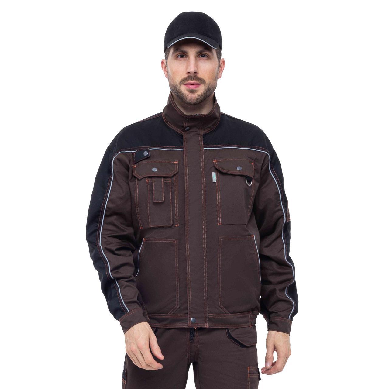 Куртка робоча БРАУНІ, сумішева (65%п/е+35%х/б), т. коричневий/чорний
