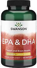 Жирные кислоты Свансон Омега 3 ЭПК и ДПК США Swanson USA Omega-3 EPA DHA 1.2 грамма рыбьего жира 120 капсул
