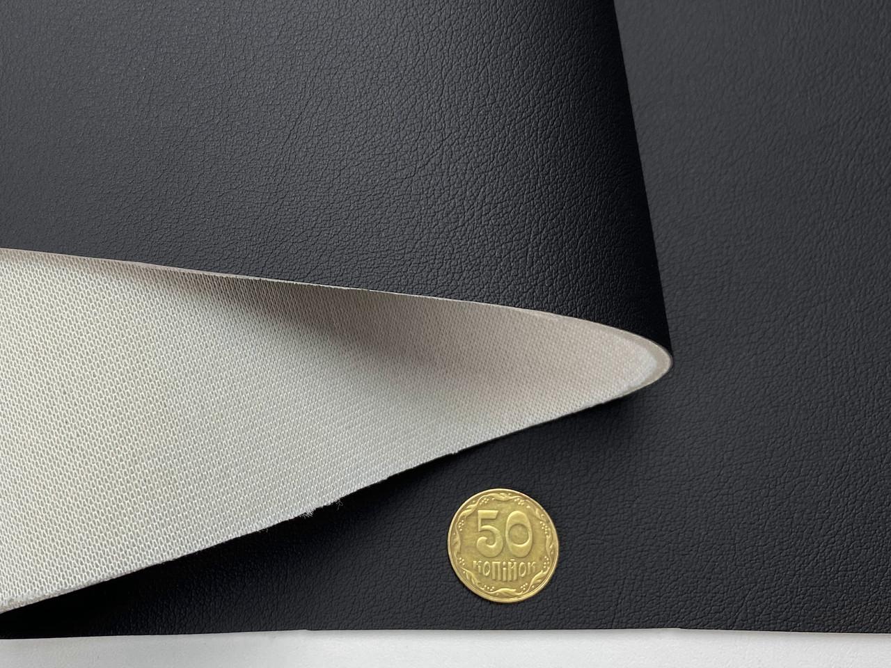 Кожзам черный для сидений (текстурный полуглянцевий 104/ECO) на поролоне и сетке, толщина 3мм, ширина 1.50м
