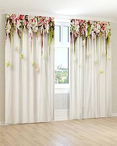 Фото штори білі і рожеві квіти