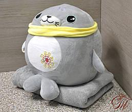 Плед - м'яка іграшка 3 в 1 (Тюлень сірий)