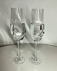 Прозорий келих для шампанського 350 мл із золотою облямівкою Бріліант
