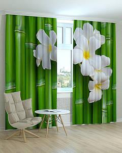 Фотошторы 3Д бамбук і квіти
