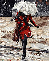 Раскраски по номерам 40×50 см. Девушка в красном пальто