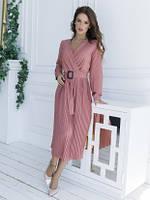 Нарядное платье софт с плиссировкой розовое