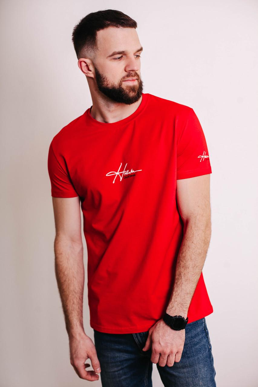 Чоловіча червона футболка з великим принтом HIGHER з короткими рукавами і круглою горловиною весна-літо, фото 1