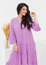 Свободное платье в горошек в больших размерах с оборками и широким рукавом летнее (р. 50-60) 11531