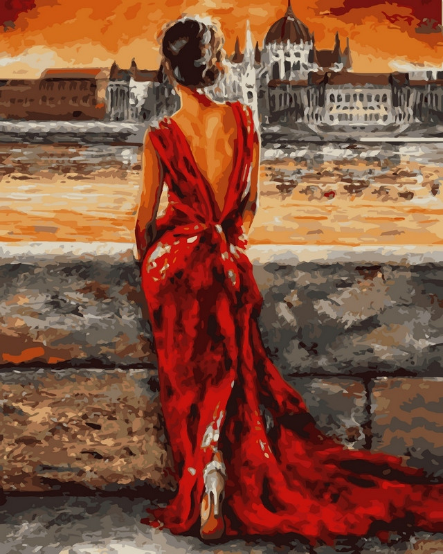 Раскраски по номерам 40×50 см. Итальянка в красном