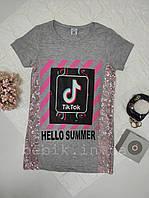 Серая футболка для девочек с паетками по бокам Тик Ток рост 146-164