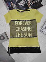 Желтая футболка для девочки с надписью рост 128-146