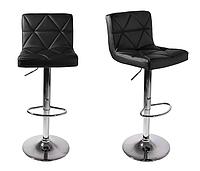 Барные высокие черные стулья со спинкой и подставкой для ног MONI 2 шт