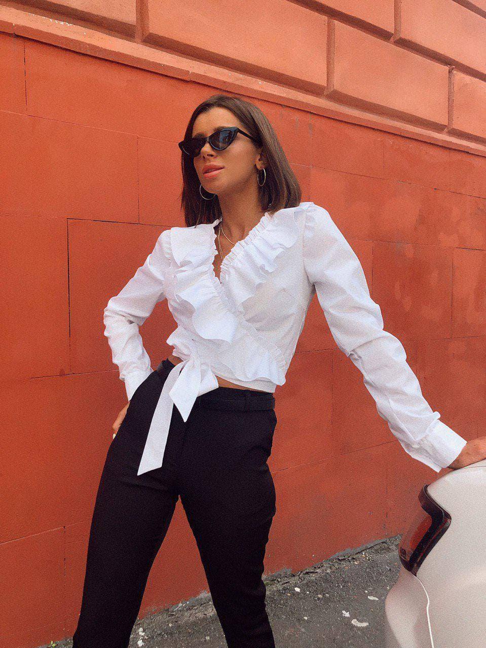 Женская хлопковая блуза с оборками на запах Валета 42-44 р