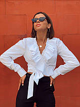 Женская хлопковая блуза с оборками на запах Валета 42-44 р, фото 2