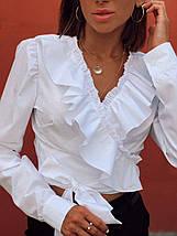 Женская хлопковая блуза с оборками на запах Валета 42-44 р, фото 3