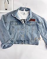 Жіноча стильна коротка джинсова куртка