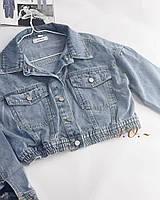 Жіноча стильна джинсова куртка МОМ з поясом на резинці
